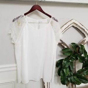 Off White Lauren Conrad Top with Feathered Lace XL